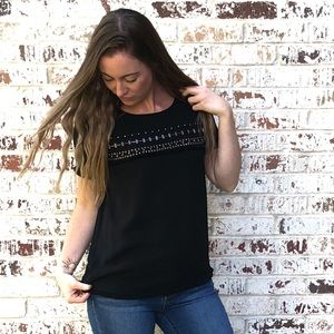 41 Hawthorn StitchFix black top with fringe XS